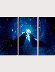 cheap -Print Rolled Canvas Prints Stretched Canvas Prints - Animals Celestial Modern Three Panels Art Prints