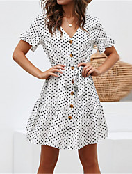 cheap -Women's Daily Wear Street Elegant Chiffon Dress - Polka Dot Patchwork Black White Navy Blue S M L XL