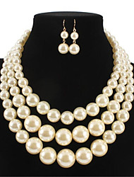 cheap -Women's Pearl Bridal Jewelry Sets Classic Donuts Stylish Imitation Pearl Earrings Jewelry White For Party Festival 1 set