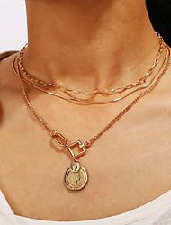Недорогие -Жен. Слоистые ожерелья Монета Лицо Цыганский Хром Золотой 40 cm Ожерелье Бижутерия Назначение Карнавал Праздники фестиваль