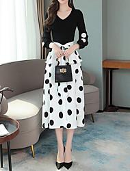cheap -Women's A Line Dress - Polka Dot Black S M L XL