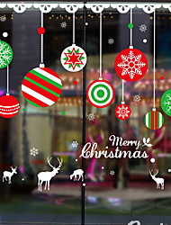 cheap -Christmas Elk Coloured Ball Window Film & Stickers Decoration Happy New Year / Christmas Holiday / Character PVC(PolyVinyl Chloride) Window Sticker / New Design / Door Sticker