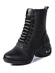 cheap -Women's Dance Shoes Faux Leather Dance Boots Boots Thick Heel Customizable Black