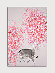 cheap -Oil Painting Hand Painted - Animals Floral / Botanical Modern Stretched Canvas