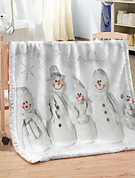 cheap -Snowman Christmas Polyester Soft Warm Customized Flannel Fleece Blanket for Winter