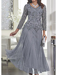 cheap -Women's Maxi Slim Swing Dress - Solid Colored Lace V Neck Spring Gray M L XL XXL