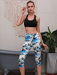 cheap -Women's High Waist Yoga Pants Pocket Print Dark Grey Green Blue Cyan Running Fitness Gym Workout 3/4 Capri Pants Sport Activewear Butt Lift Tummy Control Power Flex High Elasticity Slim