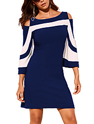 cheap -Women's Blue Black Dress Street chic Punk & Gothic Going out Casual / Daily A Line Bodycon Sheath Color Block Solid Colored Cut Out Patchwork S M