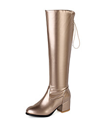 cheap -Women's Boots Chunky Heel Round Toe PU Knee High Boots Casual / British Fall & Winter Gold / Silver / Party & Evening