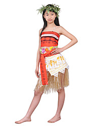 cheap -Princess Fairytale Moana Cosplay Costume Women's Halloween Carnival Children's Day Festival / Holiday Terylene Orange Women's Carnival Costumes Solid Colored / Top