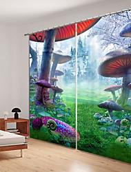 abordables -conte de fées forêt énorme champignon impression numérique 3d rideau ombrage rideau haute précision noir tissu de soie haute qualité rideau