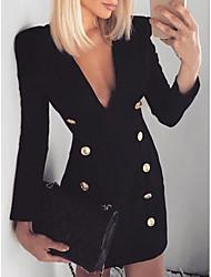 cheap -Women's Bodycon Dress - Solid Colored V Neck Black S M L XL