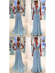 cheap -A-Line Plunging Neck Court Train Chiffon Open Back / Elegant Formal Evening Dress with Sash / Ribbon / Ruched / Pleats 2020