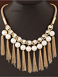 cheap -Women's Choker Necklace Collar Necklace Tassel Fringe Precious Unique Design Fashion Imitation Pearl Gold Plated Chrome Gold 45 cm Necklace Jewelry 1pc For Holiday Street Festival