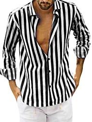 cheap -Men's Striped Shirt Daily Black / Blushing Pink / Long Sleeve