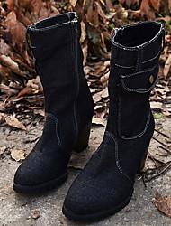 cheap -Women's Boots Flat Heel Round Toe Suede Mid-Calf Boots Winter Black / Light Blue / Navy Blue