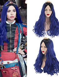 cheap -Synthetic Wig Ombre Cosplay Wig Wavy Body Wave Middle Part Wig Long Blue Synthetic Hair 26 inch Women's Cosplay Silky Party Blue