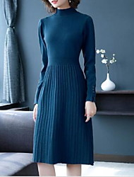 cheap -Women's Purple Blue Dress Basic Daily Wear Sweater Solid Colored Turtleneck M L