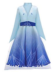 cheap -Elsa Dress Masquerade Flower Girl Dress Girls' Movie Cosplay A-Line Slip Cosplay Vacation Dress Light Blue Dress Halloween Carnival Masquerade Tulle Polyester