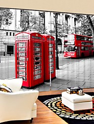 cheap -Red British Telephone Booth Digital Printing 3D Curtain Shading Curtain High Precision Black Silk Fabric High Quality Curtain