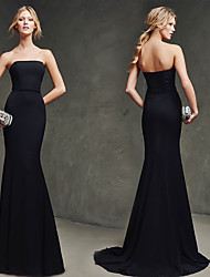 cheap -Mermaid / Trumpet Elegant Formal Evening Dress Strapless Sleeveless Sweep / Brush Train Polyester with 2021