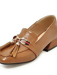 cheap -Women's Loafers & Slip-Ons Chunky Heel Square Toe Tassel PU Casual / Preppy Spring &  Fall Black / Almond / White