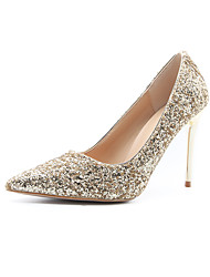 cheap -Women's Heels Stiletto Heel Pointed Toe Sequin Synthetics Minimalism Spring & Summer Black / White / Champagne / Wedding / Party & Evening