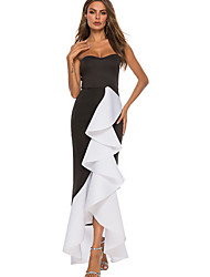 cheap -Women's Swing Dress - Color Block Maxi Black S M L XL