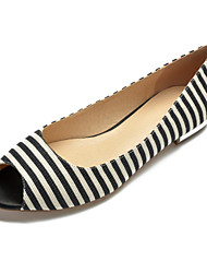 cheap -Women's Wedding Shoes Flat Heel Peep Toe Canvas / Satin Classic / Sweet Spring & Summer / Fall & Winter Black / Blue / Party & Evening / Striped