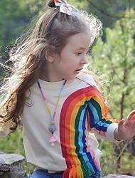 Недорогие -Дети Девочки Классический Радужный Длинный рукав Футболка Желтый