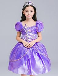 cheap -Rapunzel Dress Masquerade Flower Girl Dress Girls' Movie Cosplay A-Line Slip Cosplay Halloween Purple Dress Halloween Carnival Masquerade Tulle Chiffon
