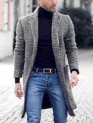 cheap -Men's Daily Basic Spring &  Fall EU / US Size Regular Overcoat, Houndstooth Black & Gray Straight Collar Long Sleeve Others Patchwork Gray