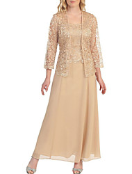 cheap -A-Line Scoop Neck Ankle Length Chiffon 3/4 Length Sleeve Plus Size / Elegant Mother of the Bride Dress with Lace 2020