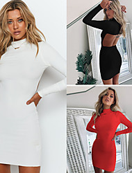 cheap -Women's Little Black Dress - Long Sleeve Solid Colored Shirt Collar Basic Daily White Black S M L XL