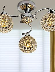 cheap -3-Light 40 cm Flush Mount Lights Metal Crystal Chrome Artistic / Nordic Style 110-120V / 220-240V / E12 / E14