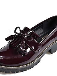 cheap -Women's Flats Flat Heel Round Toe Pigskin Fall & Winter Black / Wine