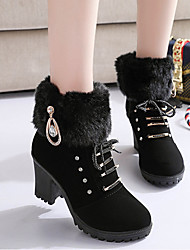 cheap -Women's Boots Chunky Heel Round Toe Rivet Synthetics Booties / Ankle Boots Vintage / Casual Spring &  Fall / Fall & Winter Black / Brown