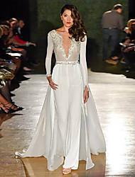 cheap -Women's V Neck White Wide Leg Slim Jumpsuit Onesie, Solid Colored Lace / Patchwork S M L