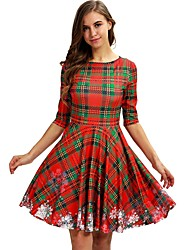 cheap -Women's Red Green Dress Elegant Christmas Party A Line Floral S M