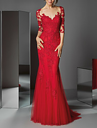 cheap -Mermaid / Trumpet V Neck Sweep / Brush Train Lace Beautiful Back / Red Formal Evening / Wedding Guest Dress with Appliques / Buttons 2020
