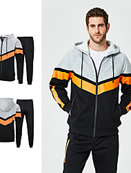 cheap -Men's 2-Piece Patchwork Tracksuit Track Jacket Casual Long Sleeve Front Zipper Thermal / Warm Windproof Soft Running Fitness Jogging Sportswear Plus Size Hoodie Jacket and Pants Athleisure Wear Black