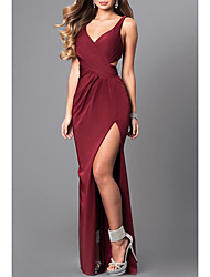 cheap -Mermaid / Trumpet Plunging Neck Floor Length Stretch Satin Elegant Prom Dress with Draping / Split Front 2020