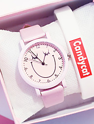 cheap -Women's Quartz Watches New Arrival Fashion White Green Pink PU Leather Chinese Quartz White Purple Blushing Pink Chronograph Cute Creative 2pcs Analog One Year Battery Life