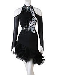 cheap -Latin Dance Dresses Women's Training Spandex Cascading Ruffles / Crystals / Rhinestones Long Sleeve High Dress