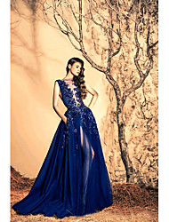 cheap -A-Line Off Shoulder Court Train Tulle Sparkle & Shine / See Through Prom Dress with Beading / Appliques / Split Front 2020