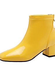 cheap -Women's Boots Chunky Heel Square Toe Patent Leather / PU Booties / Ankle Boots Classic / British Fall & Winter Black / White / Yellow / Party & Evening