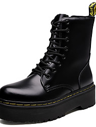 cheap -Women's Boots Creepers Round Toe Leather Mid-Calf Boots Fall & Winter Black / White