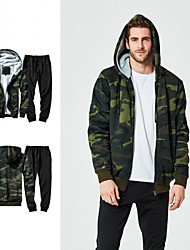 cheap -Men's 2-Piece Tracksuit Track Jacket Casual Long Sleeve Front Zipper Fleece Thermal / Warm Windproof Soft Running Fitness Jogging Sportswear Camo Plus Size Hoodie Jacket and Pants Athleisure Wear