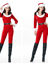 cheap -Santa Claus Cosplay Costume Women's Adults' Costume Party Christmas Christmas Cotton Catsuit / Hat