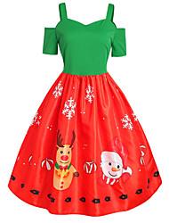 cheap -Women's Christmas Party Trumpet / Mermaid Dress - Snowflake Tie Dye Strapless Rainbow S M L XL